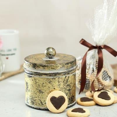 Delicious Heart Cookies in Metal Jar