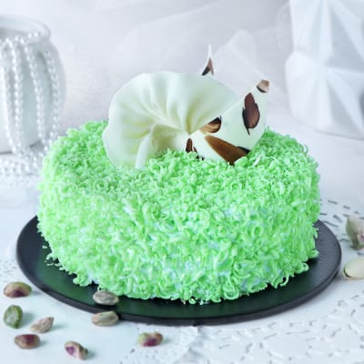 Outstanding Order Rich Pistachio Cake Eggless Half Kg Online At Best Price Personalised Birthday Cards Veneteletsinfo