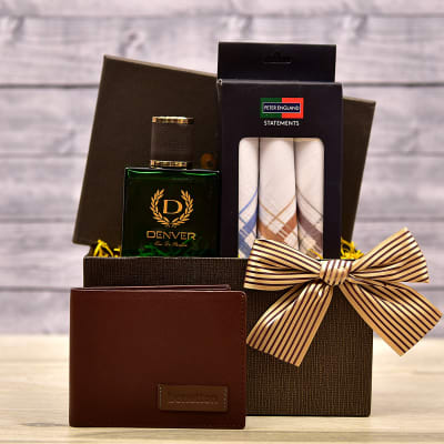 Denver Hamilton Perfume With Handkerchief Set And Wallet In Gift Box