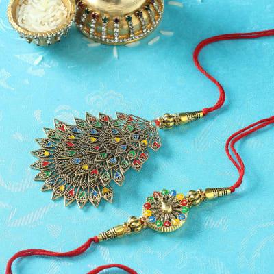 Designer Bhaiya Bhabhi Rakhi with Meena Work
