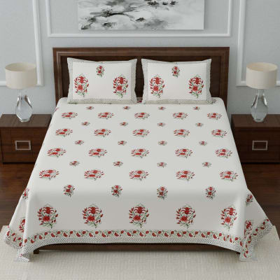 Designer Block Printed Double Bedsheet with Pillow Covers