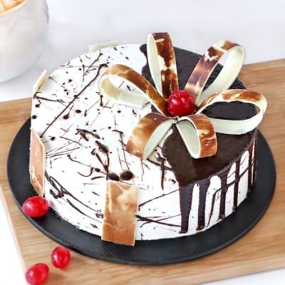 Designer Chocolate Vanilla Cake (Eggless) (2 Kg)