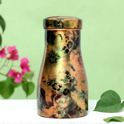 Designer Copper Water Bottle with Drinking Glass Lid