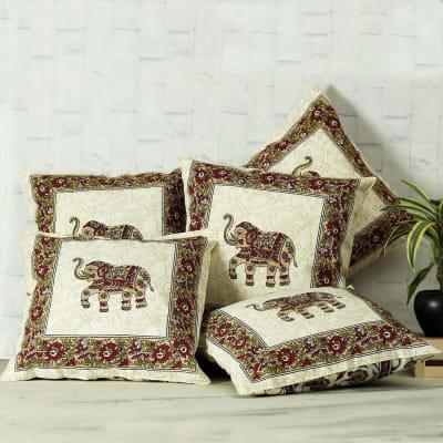 Designer Cushion Covers with Elephant Design (Set of 5)