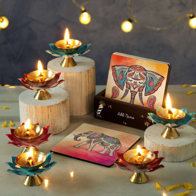 Designer Metal Diya Set with Coasters and Personalized Stand