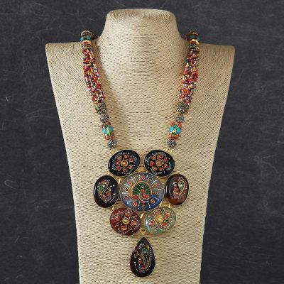 7d2f1d7d65cfb Designer Necklace Set with Semi Precious Hand Painted Stones