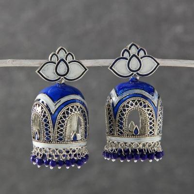 d5d39da29c94 Designer Oxidized Metal Jhumka with Meena and Beads Work