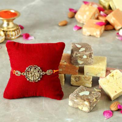 Designer Radha Krishna Rakhi with Mewa Bites