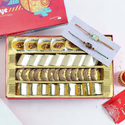 Designer Rakhi Set of 2 with Assorted Indian Sweets