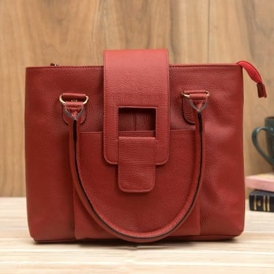 Designer Red Leather Women Handbag