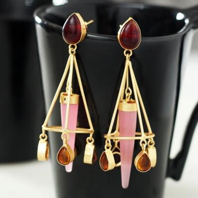 Designer  Semi Precious Stone Studded Long Earrings