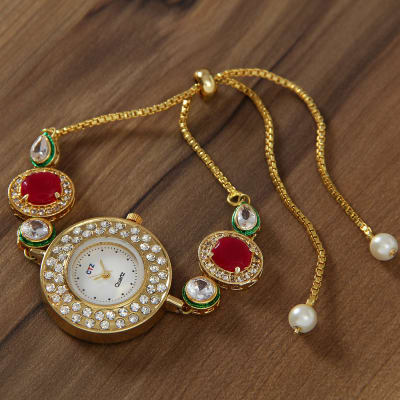 Designer Watch with Rubi and CZ Stones