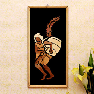 Dhaki Tribal Dance Wooden Relief Painting