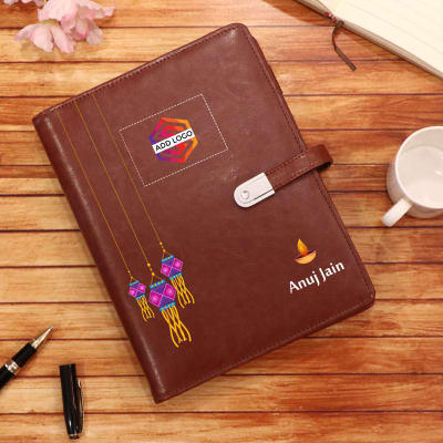 Diary with 8GB Pen Drive and 5000 mAh Power Bank for Diwali