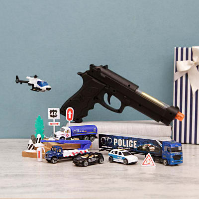 Die Cast Police Cars & Super Pistol In a Gift Box