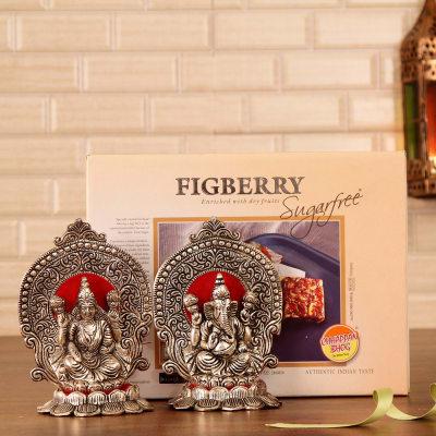 Divine white metal laxmi ganesha with sugarfree figberry giftsend divine white metal laxmi ganesha with sugarfree figberry negle Gallery