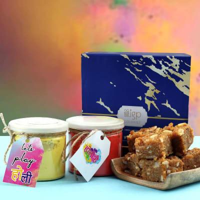 Doda Barfi with Set Of 2 Holi Gulal Jars
