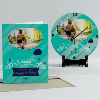 Don't Stop Running Personalized Birthday Clock & Card Combo