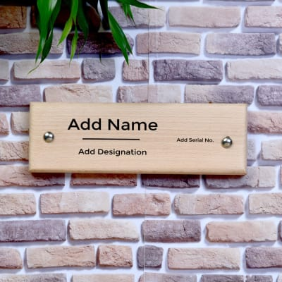 Door Plate - Customizable with Name Designation and Serial No.
