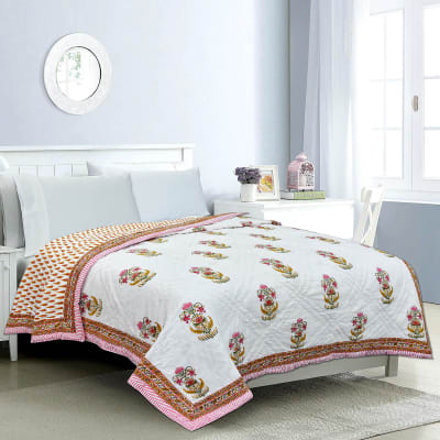 Double Bed Quilt with Rajasthani Block Print & Booti Work