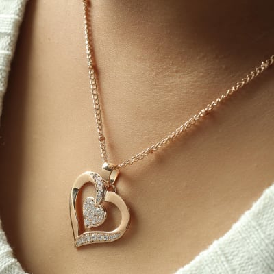Double Heart Studded Rose Gold Finish Necklace