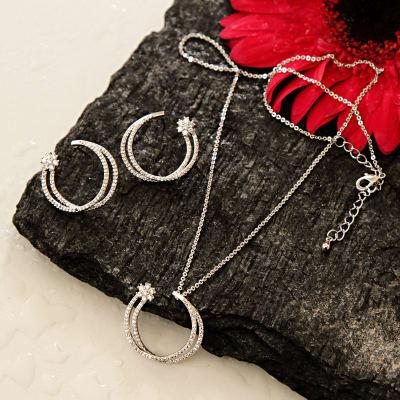 Double ring Designed CZ Stone Studded Pendant Set