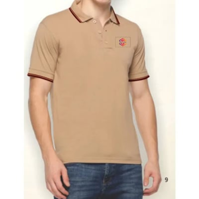 Double Tipped Polo T-Shirt With Brown Tipline- Customized With Logo