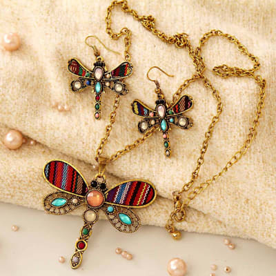 Dragonfly Design Long Chain Pendant Necklace With Matching Earrings