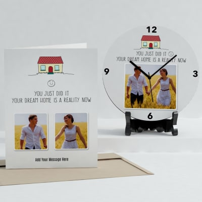 Dream Home Personalized Clock & Card combo for House Warming