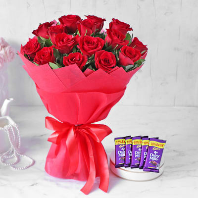 Dreamy Red Rose Bouquet with Cadbury Bars
