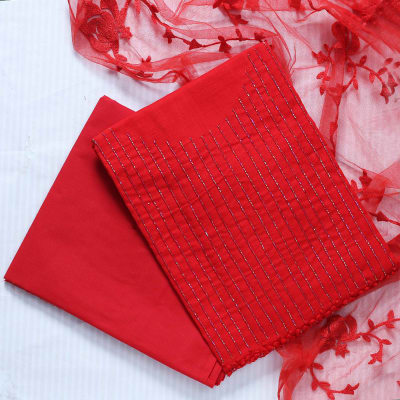 Dress Material in Red with Embroidery Work on Dupattav