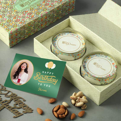 Dry Fruit Box with Personalized Birthday Card