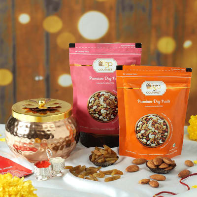 Dry Fruits in Metal Container with Decorative Lid