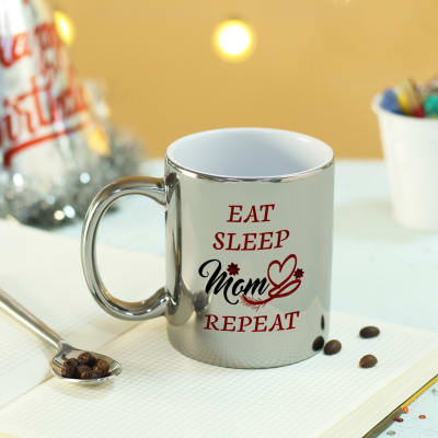 Eat Sleep Repeat Personalized Silver Mug for Mom