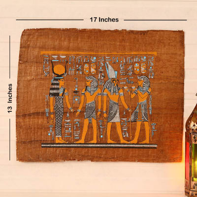 Egyptian Hand Painted Papyrus Painting Offering to Horus