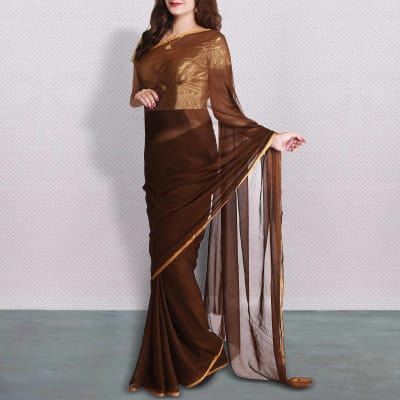Elegant Brown Semi Chiffon Saree With Net Embroidered Blouse