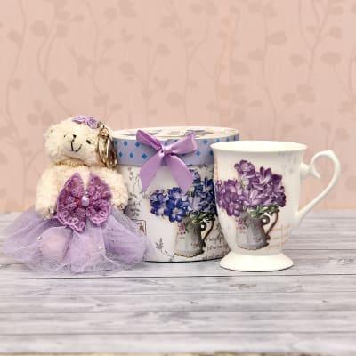 Elegant Ceramic Mug with Cute Teddy Keychain