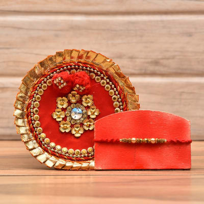 Elegant Pearl Rakhi With Beautiful Thali