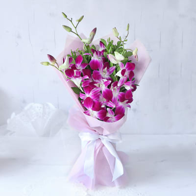 Elegant Purple Orchids Ribbon Bouquet