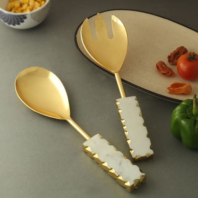 Elegant White And Gold Serving Spoons