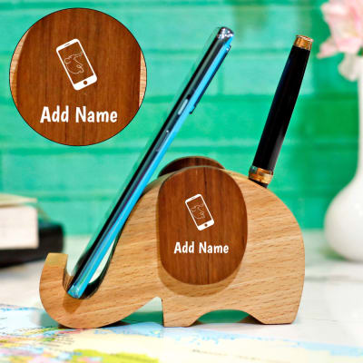 Elephant Personalized Wood Mobile Stand & Pen Holder