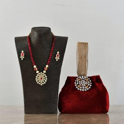 Embossed Work Velvet Purse with Ethnic Kundan and Semi Precious Necklace set
