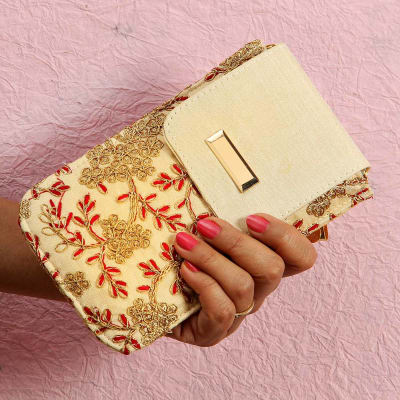 Embroidery Work Mobile Wallet