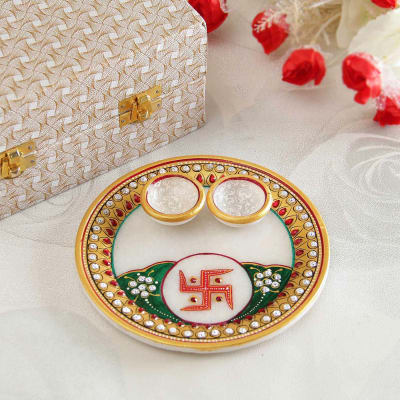 Endearing Marble Puja Thali