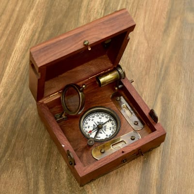 Engraved Brass And Sheesham Wood Marine Master Box Nautical Compass Nautical Vintage Collectibles