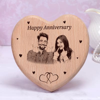 Engraved Personalized Wooden Photo Frame for Anniversary