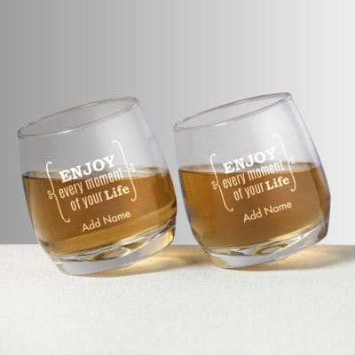 Enjoy Every Moment Personalized Spinning Whiskey Glasses