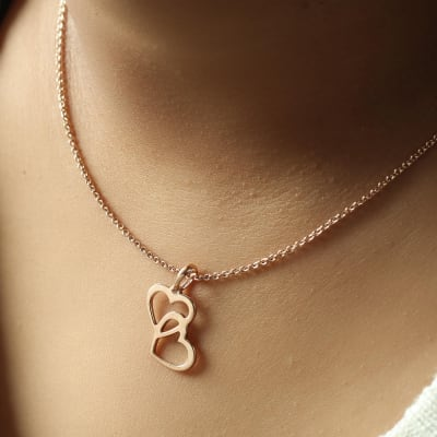 Entangled Hearts Rose Gold Finish Pendant Necklace