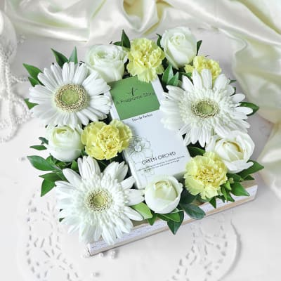 Exotic Gift Hamper With Perfume & Flowers