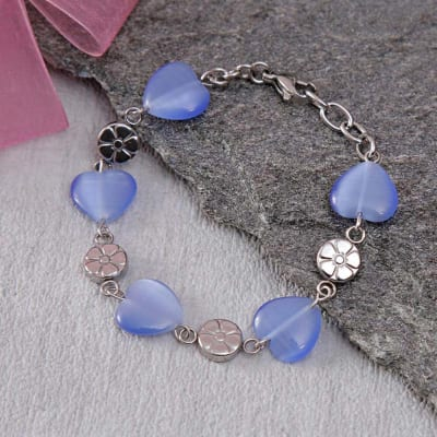 Exotic Metal Bracelet with Blue Hearts